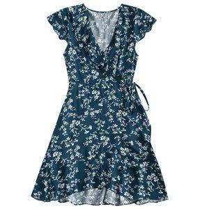 Blue floral wrap dress summer ASOS XS NWT ruffles